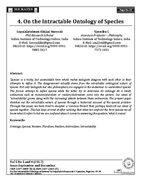 On the Intractable ontology of Species