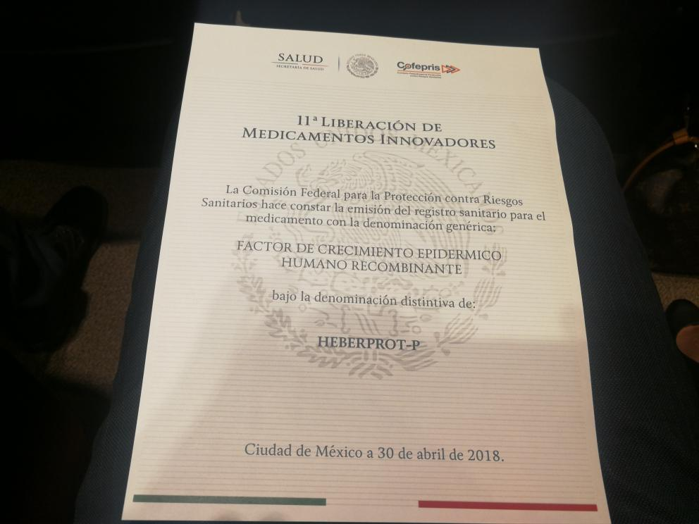 Approval for commercialization of Heberprot-P® in Mexico