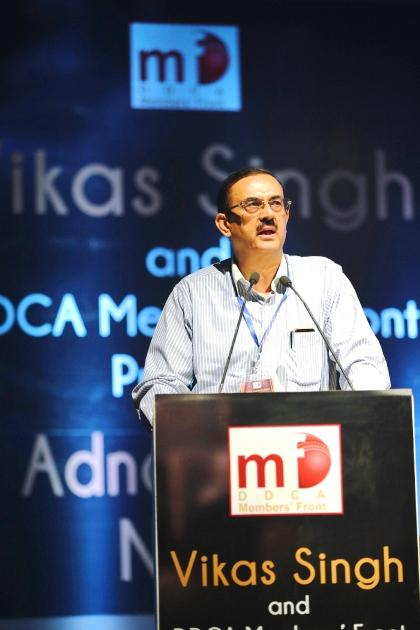 Mr. Vikas Singh, Presidential Candidate, DDCA addressing the audience