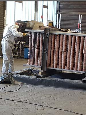 Ceramic Polymer: Coating of copper block heat exchanger by flood
