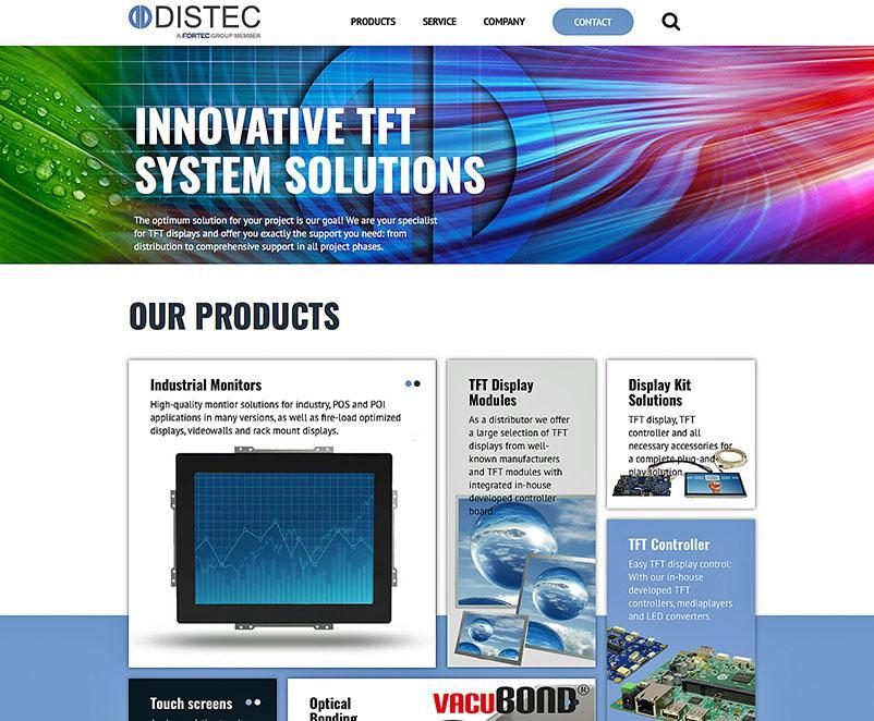 Distec website now on distec.de presents a wide product range
