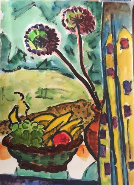 K. Schmidt-Rottluff, Stillleben mit Südfrüchten und Pusteblume, watercolor, approx. 80 x 60 cm
