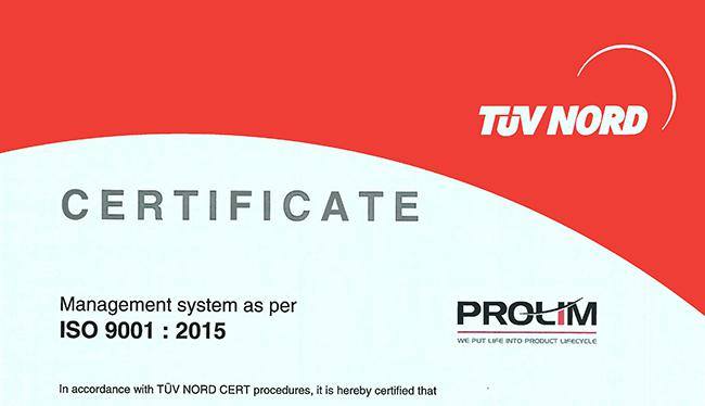 PROLIM Awarded ISO 9001:2015 Certification by German firm TÜV