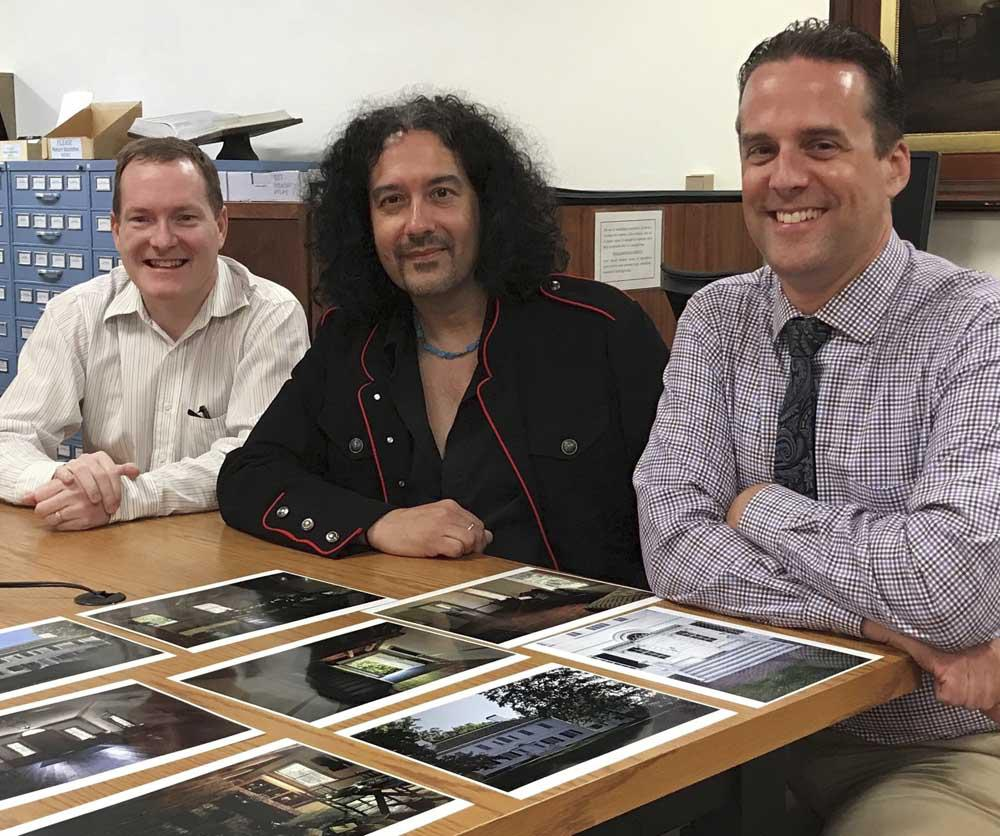 Left to Right:  James Lewis, Xiomaro, Chad Leinaweaver (Library Director)