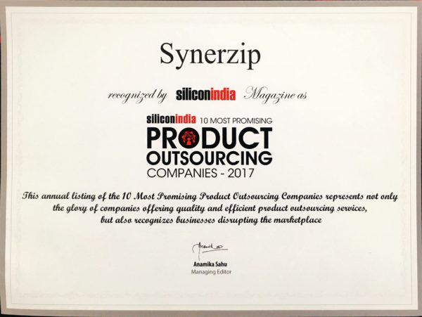 SYNERZIP ON TOP 10 PROMISING PRODUCT OUTSOURCING COMPANIES 2017