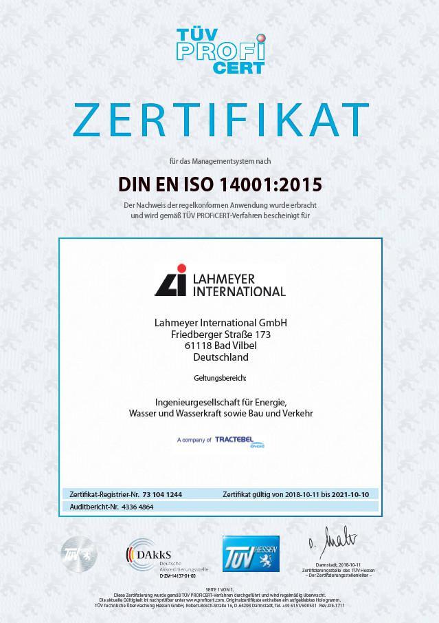 Cartificate DIN EN ISO 14001:2015