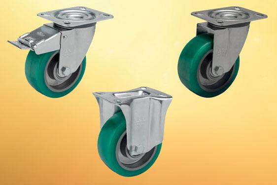 Soft Polyurethane Wheeled Castors from Elesa