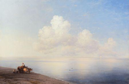 Ivan Aivasovsky - Ruhige See. Oil on canvas, 1887, 65.3 x 98.5 cm, result: € 212,500.