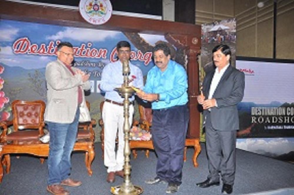 From Left Mr. Rohit Hangal. Director, Sphere Travelmedia & Exhibitions Pvt. Ltd., Mr. Ravindra, DD, DoT, Mr. Sadananda, Vice Presi