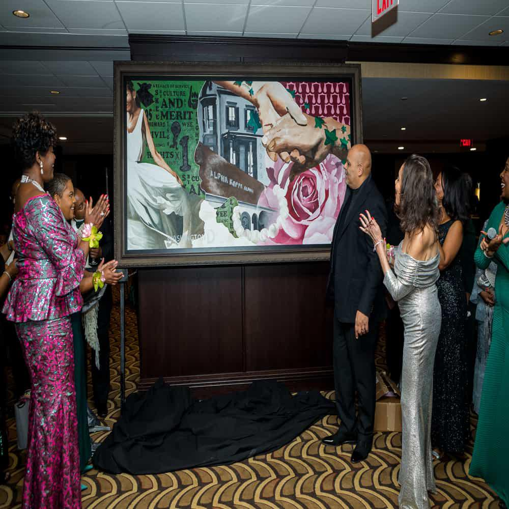 """Unveiling of """"By Culture and By Merit,"""" The Painting Xi Omega Commissioned to Commemorate its 95 Years of Service"""