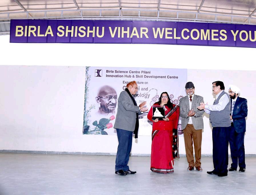 Prof Preeti Sharma Dean Banasthali Vidyapith Talks on Gandhi and Technology at Birla Shishu Vihar Pilani