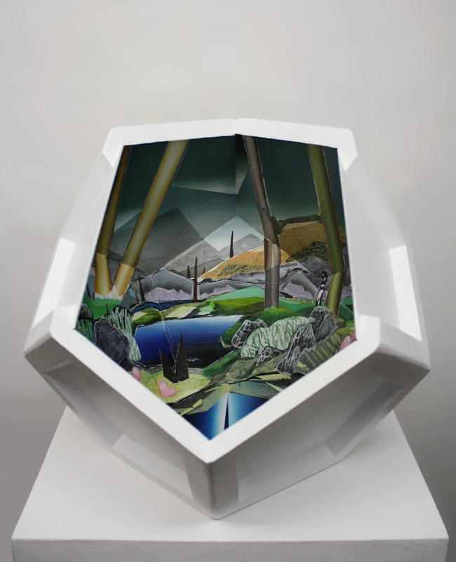 Anja Warzecha: Kleiner Erker, 2019, acrylic on medium-density fiberboard, ca. 40 x 50 x 50 cm