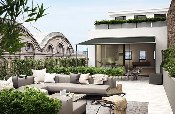 """The new small """"pergola compact"""" from markilux provides large areas of shade"""