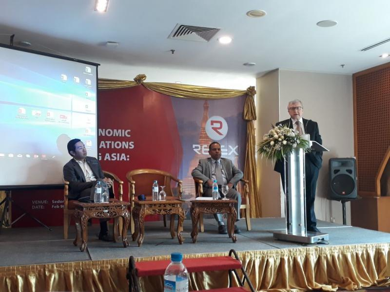 U Nay Aung, Ravindra Jain, Alexei D. Voskressenski (left to right) address the audience at Relex Development's academic seminar.