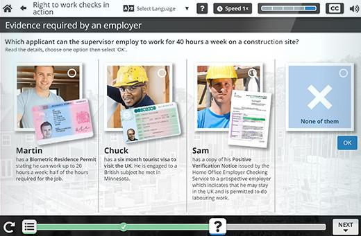 A screen grab from the Right to Work programme.