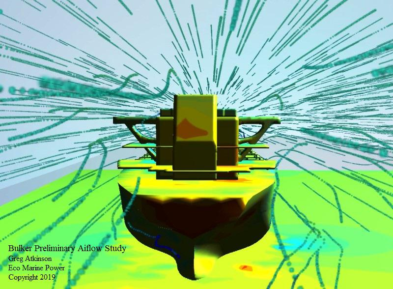 Airflow analysis around a bulk cargo ship