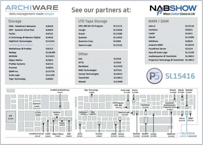 Archiware NAB 2019 Partner Map