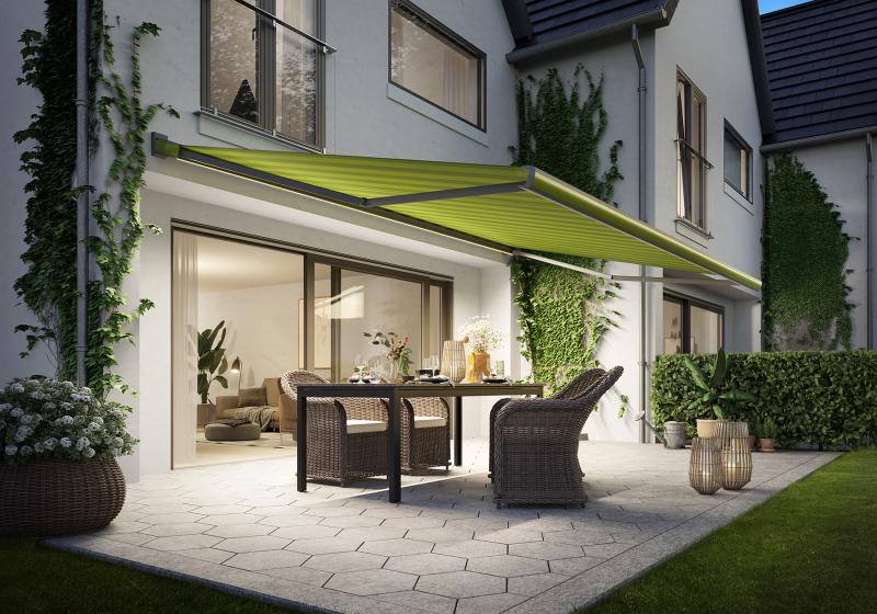 markilux designer awnings MX-3 and 970:  the awning and cover match one another perfectly in terms of colour