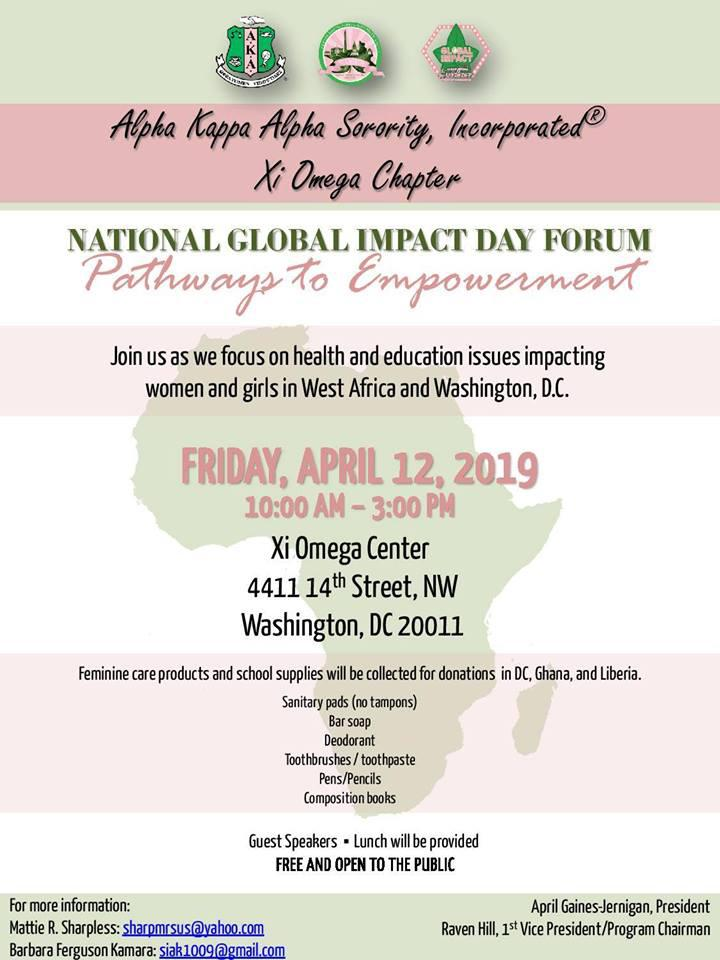 National Global Impact Day will raise awareness of education and heath challenges faced by women and girls in West Africa and DC