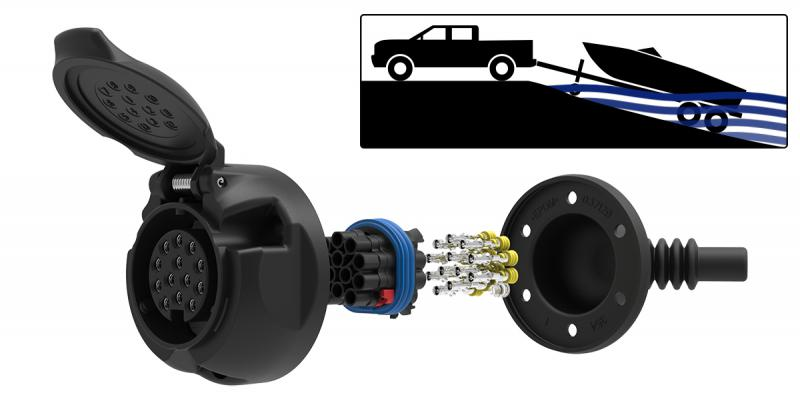 The 13-pin trailer socket is 100% watertight