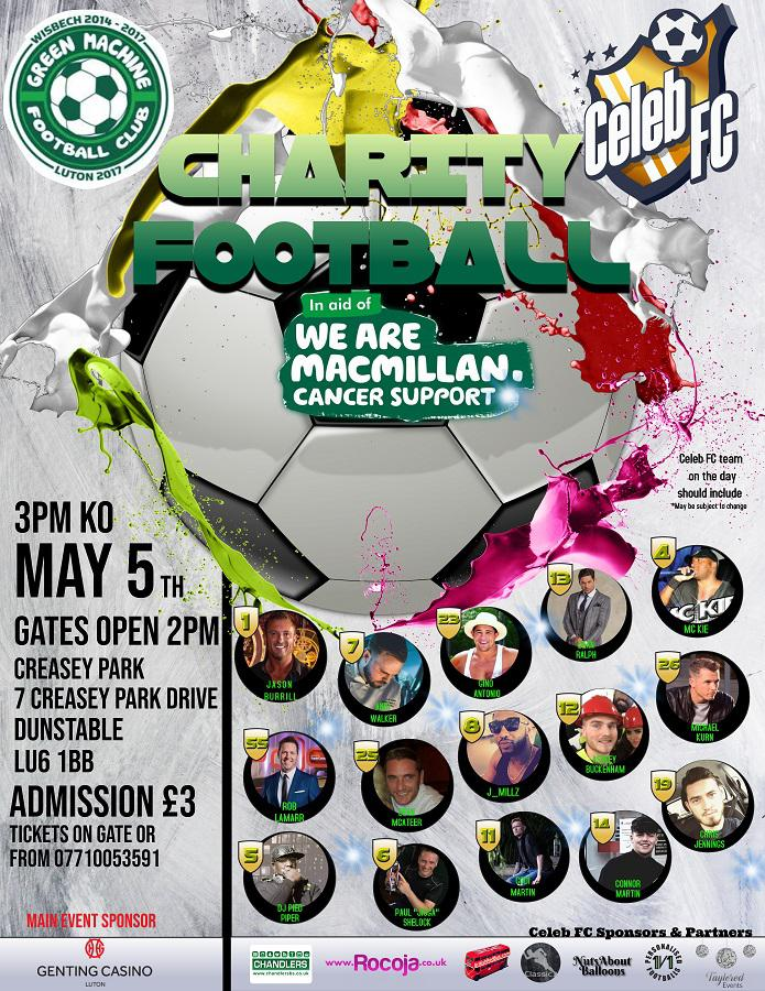 flyer - celeb fc v green machine may 5th