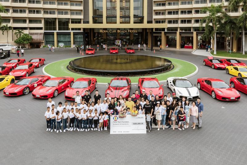The Ferrari Owners Club Thailand together with the Royal Cliff donated THB 250,000 to the Father Ray Foundation in Pattaya