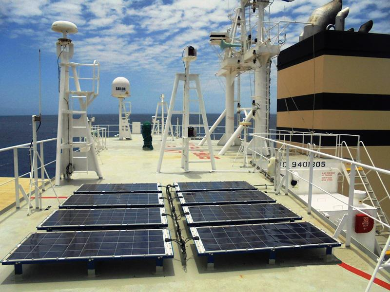 Ship solar power array supplied by Eco Marine Power onboard MV Panamana