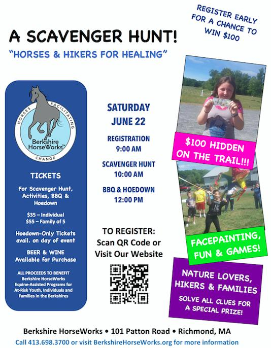 "Berkshire HorseWork's 2nd Annual ""Horses and Hikers for Healing':  a Scavenger Hunt and Hoedown open to all ages. Register now!"
