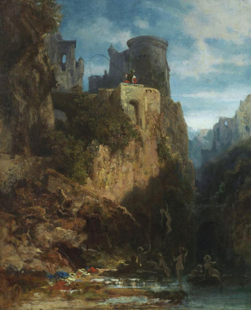 Carl Spitzweg – Nixenfang. Oil on canvas, around 1875, 13.7 x 11.2 inches. Result: € 137.500*
