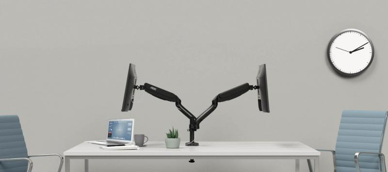 AOC AD110 dual monitor arm with two AOC I2790PQU: Optimum flexibility for any monitor in workspace or at home