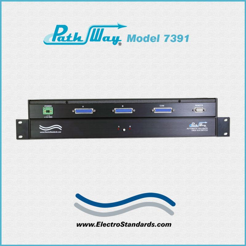 The Model 7391 DB25 A/B Switch with Automatic Fallback and RS232 Remote