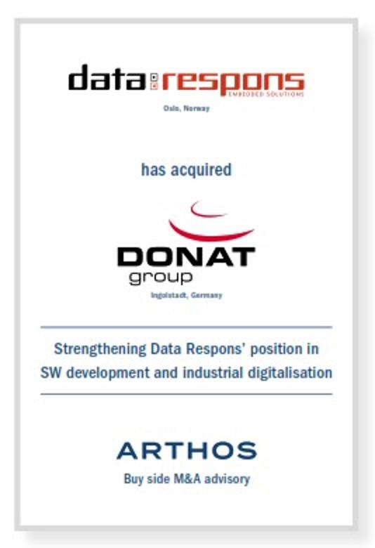ARTHOS advises Data Respons ASA on its acquisition of DONAT group