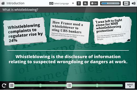 A scene from the Whistleblowing e-learning course.