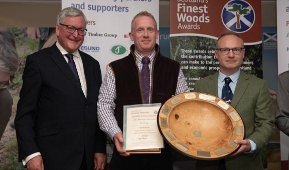 Fergus Ewing MSP, Andy Dunsmuir Forest Manager,  Jason Sinden (Gresham House)