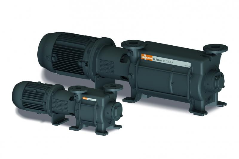 Two versions of Dolphin liquid ring vacuum pumps that are available with pumping speeds from 25 to 26,800 cubic metres per hour