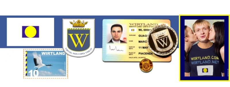 Wirtland flag, coat of arms, ID card, coins, postage