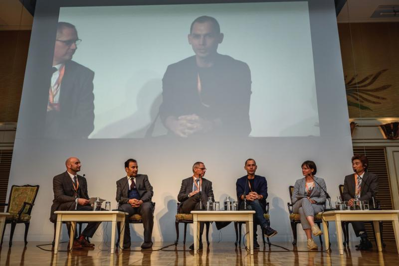 FundLife Founder Marko Kasic during the Sports For Good panel at SIGEF 2019 held in Tokyo, Japan
