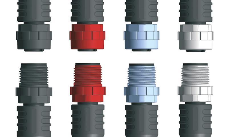 M12x1-connectors with plastic locking nut