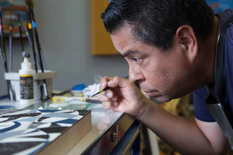 Fernando Reyes at work in his studio
