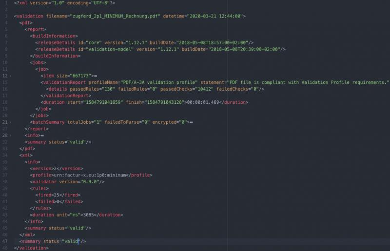Screenshot of the XML-result of a ZUGFeRD validation