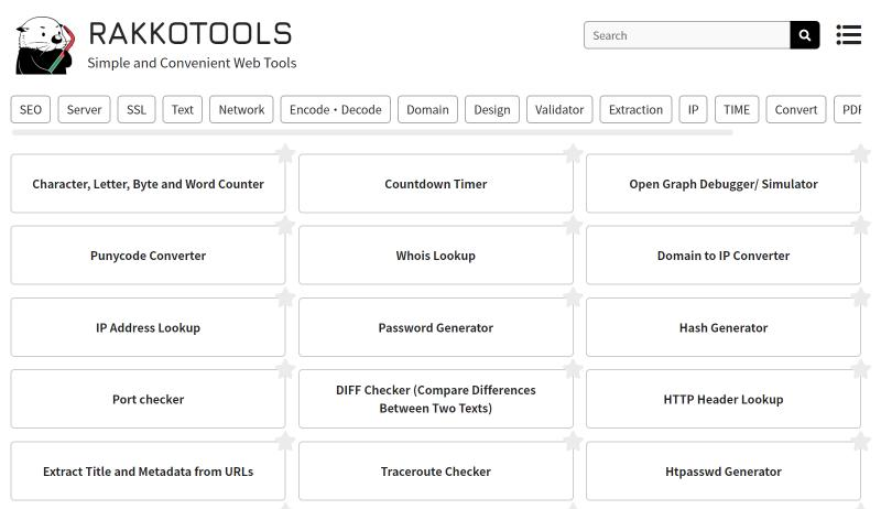 'Rakko Tools' Released 100+ Web Tools and Has Exceeded 250,000