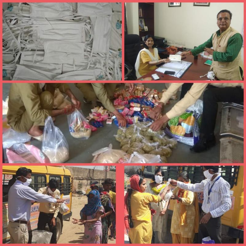 Lead School JMA Pilani distributes Handmade Masks and Provisions for Pilani Underprivileged facing Corona Virus Lockdown
