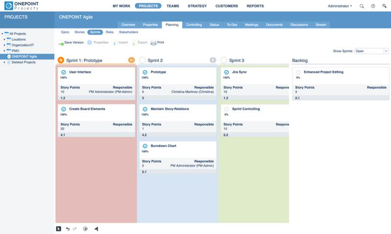 The new Kanban-style sprint board in ONEPOINT Projects 19 supports fast drag & drop planning for multiple sprints.