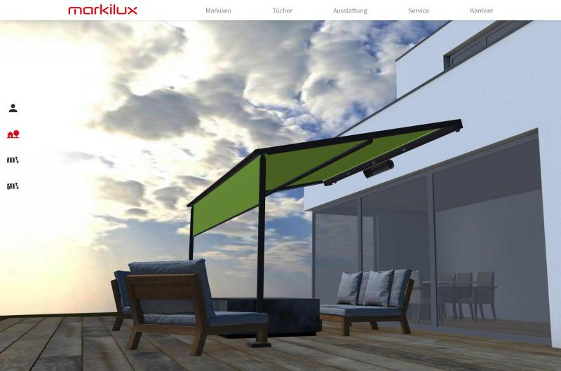 The new product configurator on the markilux website can be operated intuitively and quickly helps users find their perfect awning