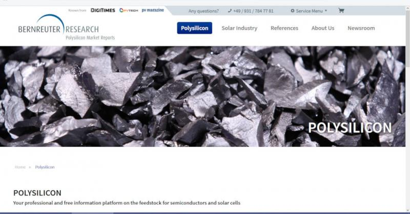 The new polysilicon information platform provided online by Bernreuter Research ? Screenshot: Bernreuter Research