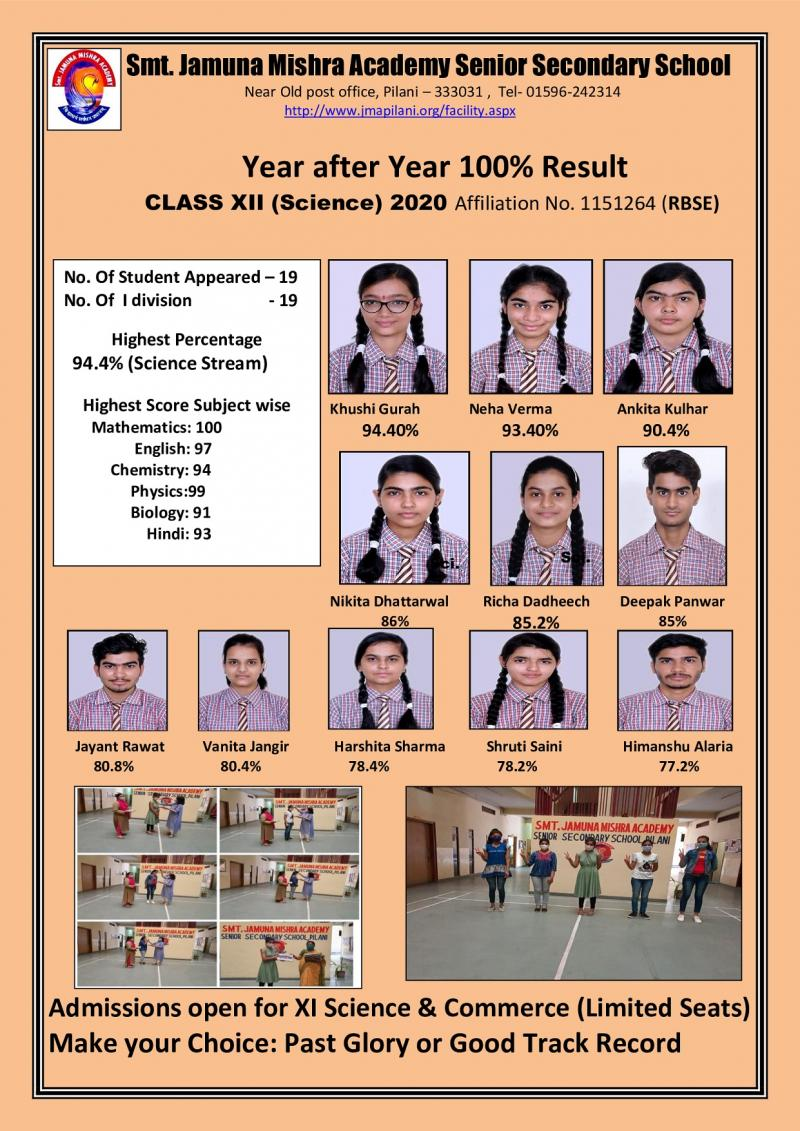 Top Ranking Pilani School JMA Delivers 100% Results in 2020 RBSE Class 12 Science Stream
