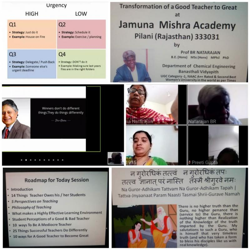 JMA Pilani Marks Guru Purnima with FDP by Banasthali Professor on Transformation of a Good Teacher to Great