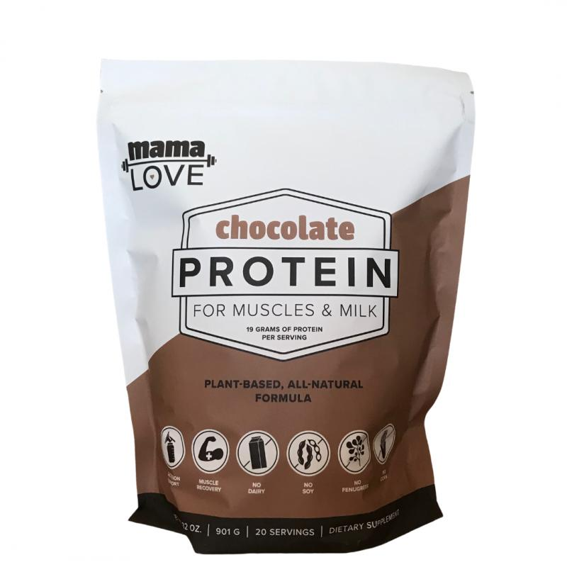 Mama Love Chocolate Protein supports muscle recovery and healthy breast milk production.