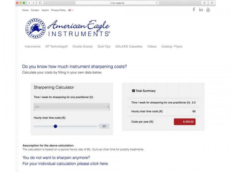 The American Eagle sharpening calculator © Young Innovations