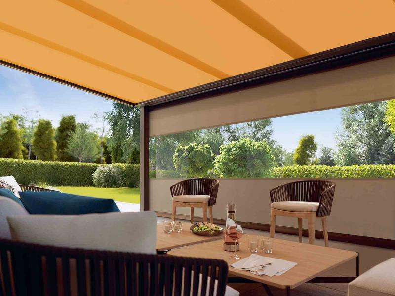 Some awning models, including a number manufactured by markilux, also provide protection against light wind and moderate rain.